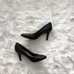 Merona Pointy Toe Black Faux Leather Heels